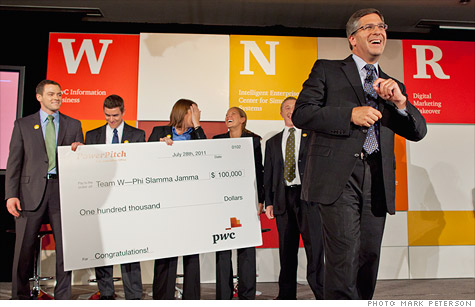 PwC chairman Bob Moritz with the winners of PowerPitch
