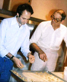 Shaich (left) with his father, Joseph, at the Cookie Jar, circa 1980, in Boston