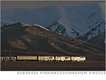 The Qinghai-Tibet freight train, near the town of Erdaogou, at 15,000 feet.